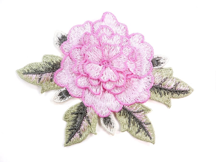 3D Embroidered Applique Pink Single Floral Sewing Supply Clothing Patch  CQ4