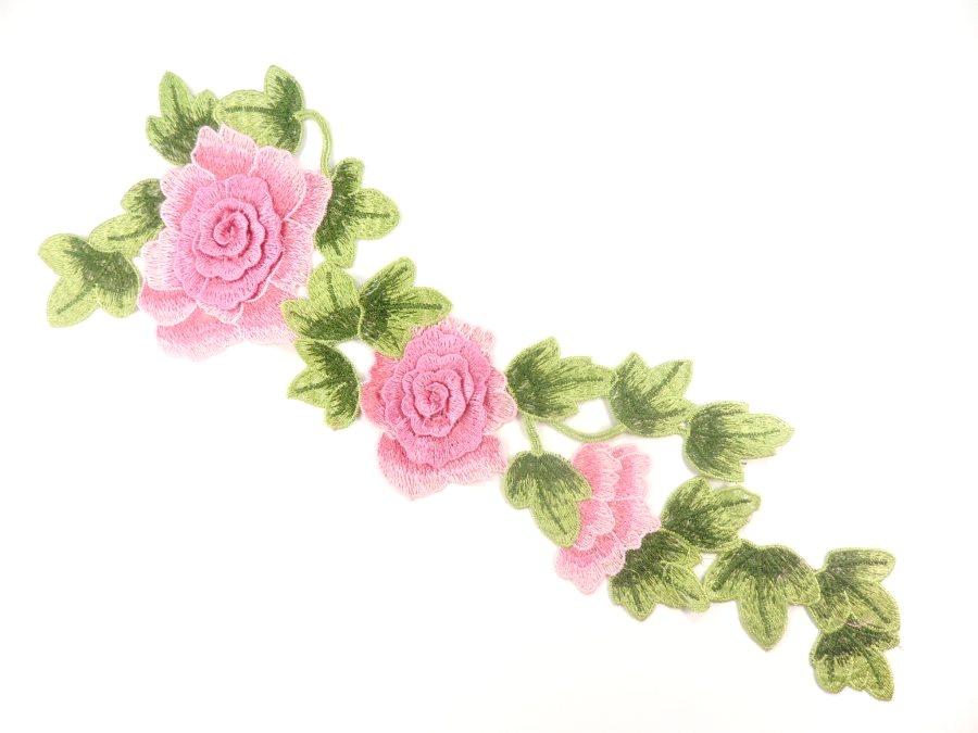 3d Embroidered Applique Pink Rose Floral Vine Sewing Supply