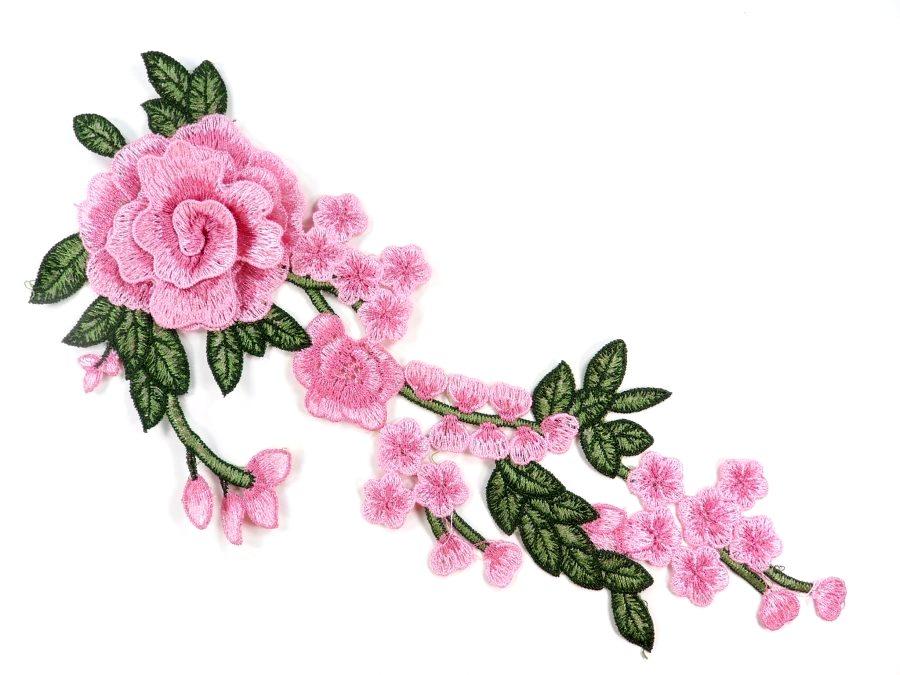 3d Embroidered Applique Light Pink Rose Floral Vine Sewing Supply