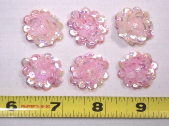 RMAT8900  REDUCED  Set of (10) Pink AB Flower Sequin Pearl Appliques