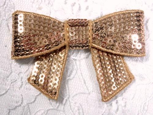 DE1   Dimensional Bow Iron On Gold Sequin Applique 2.5
