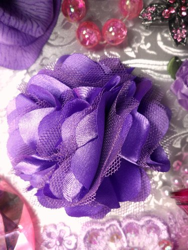 DE4 Purple Satin Rose Applique 3\