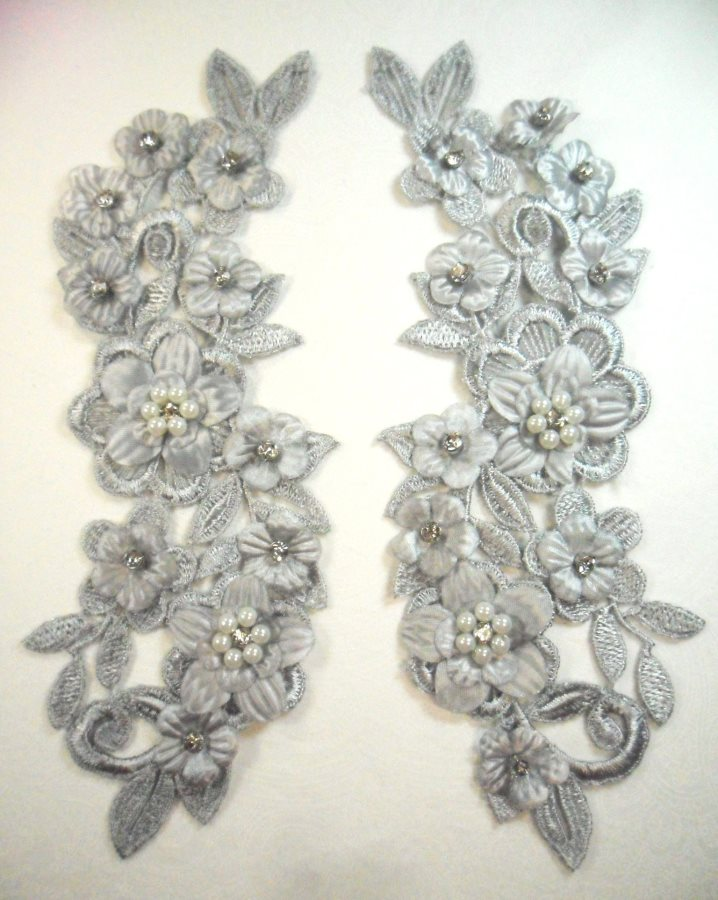 3D Venice Lace Applique Silver Floral Venise Lace with Crystal Rhinestones and Pearls 8 (DH101X)