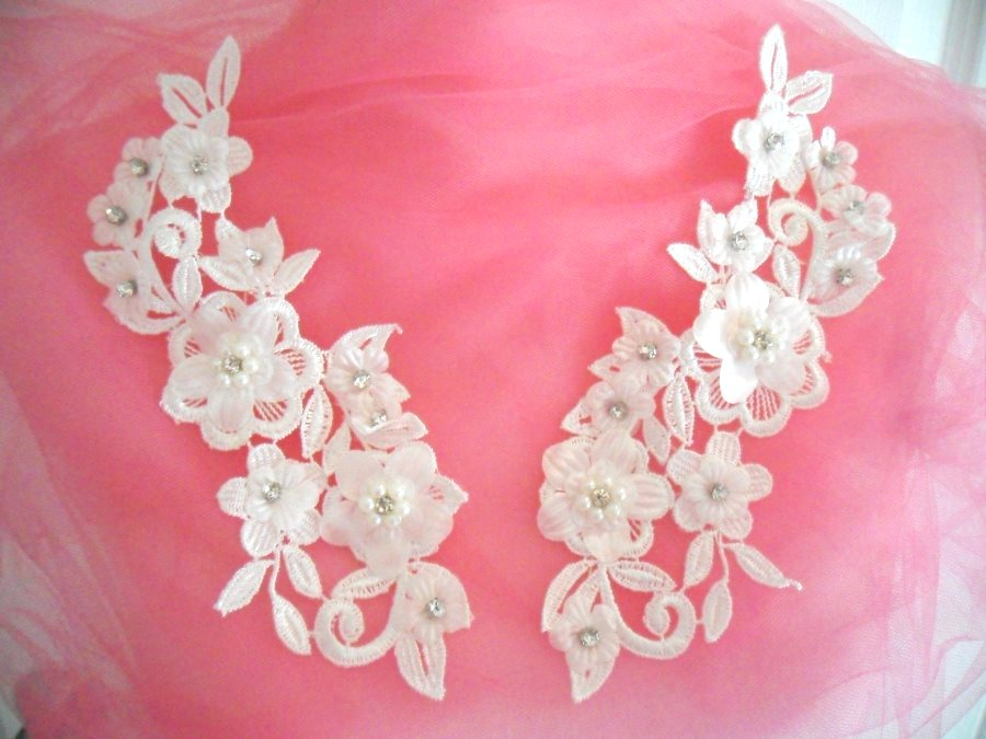 3D Venice Lace Applique White Floral Venise Lace with Crystal Rhinestones and Pearls 8 (DH101X)