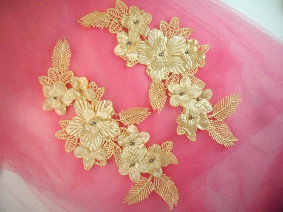 Venice Lace 3D Gold Applique Floral Venise Lace with Crystal Rhinestones and Pearls 9 (DH103X)