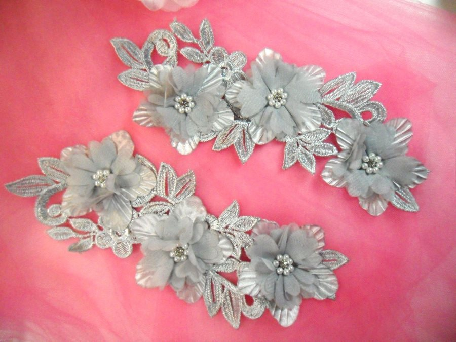Venice Lace 3D Silver Applique Floral Venise Lace with Crystal Rhinestones and Pearls 9 (DH103X)