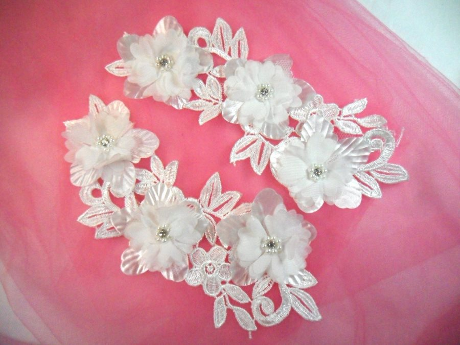 Venice Lace 3D White Applique Floral Venise Lace with Crystal Rhinestones and Pearls 9 (DH103X)