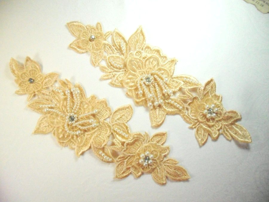 Venice Lace 3D Gold Applique Floral Venise Lace with Crystal Rhinestones and long Pearls Dangles 10 (DH104X)