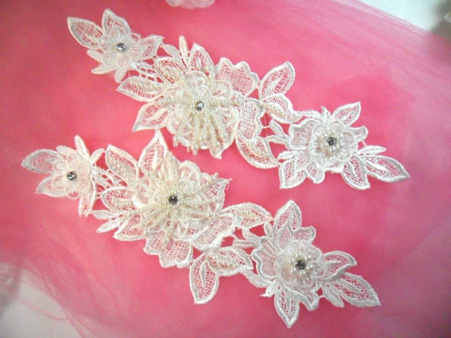 One Side Venice Lace 3D White Applique Floral Venise Lace with Crystal Rhinestones and Pearls Dangles 10 (OSDH104X)