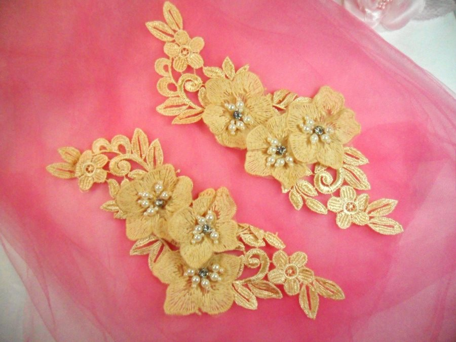 Venice Lace 3D Gold Applique Floral Venise Lace with Crystal Rhinestones and Pearls Dangles 9 (DH105X)