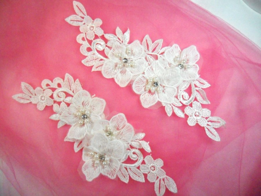 REDUCED Venice Lace 3D White Applique Floral Venise Lace with Crystal Rhinestones and Pearls Dangles 9 (DH105X)
