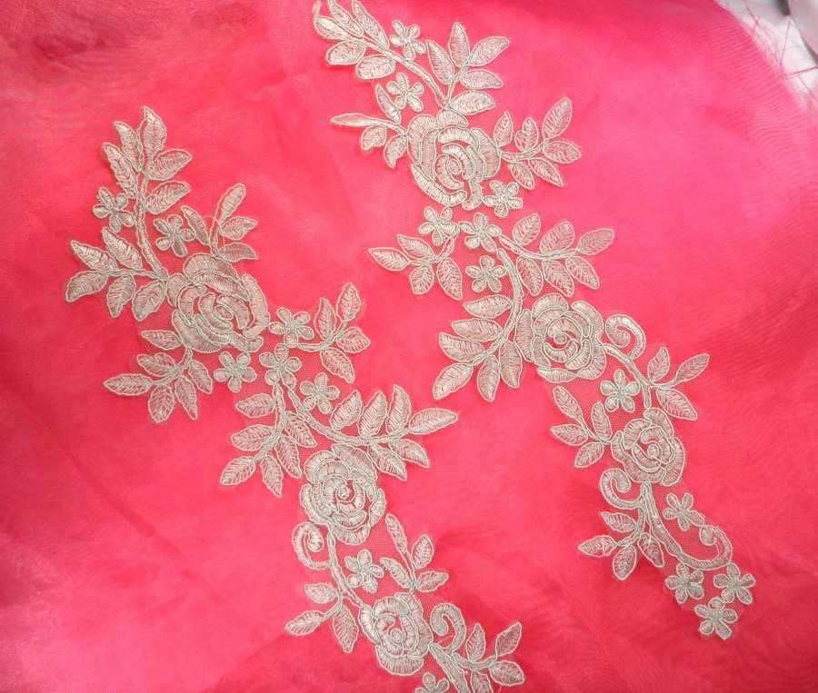 Embroidered Lace Appliques Light Silver Floral Venice Lace Mirror Pair 14.5 (DH106X)