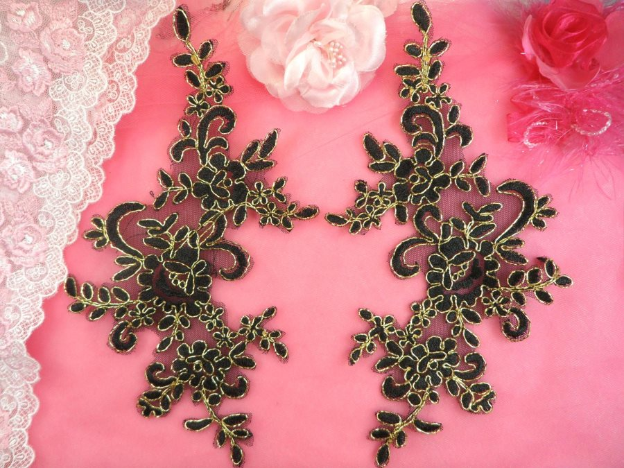 Embroidered Venice Lace Appliques Black Gold Floral Venice Lace Mirror Pair 9.5 (DH108X)