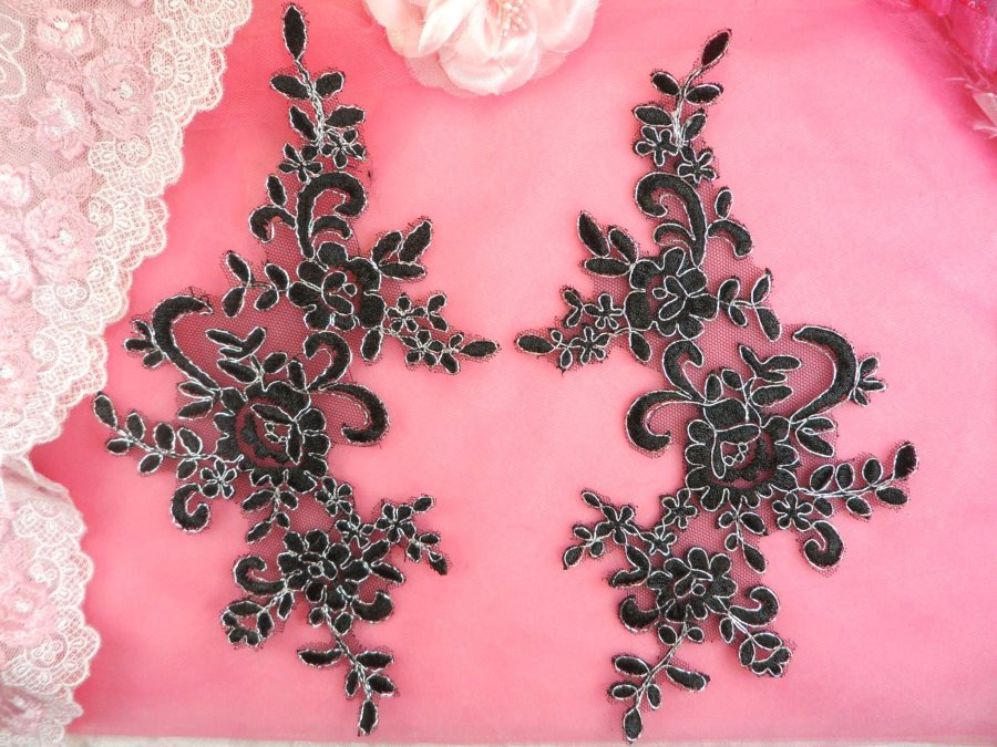 Embroidered Venice Lace Appliques Black Silver Floral Venice Lace Mirror Pair 9.5 (DH108X)