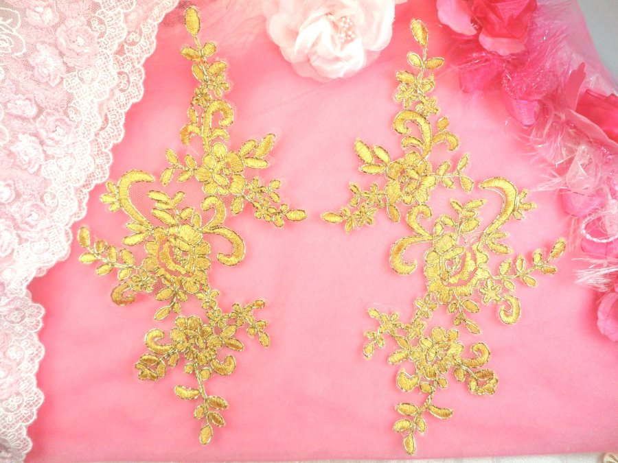 Embroidered Venice Lace Appliques Gold Floral Venice Lace Mirror Pair 9.5 (DH108X)