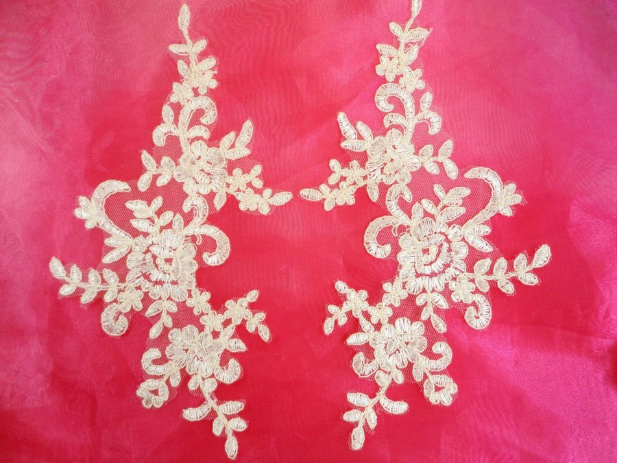 Embroidered Venice Lace Appliques Ivory Floral Venice Lace Mirror Pair 9.5 (DH108X)