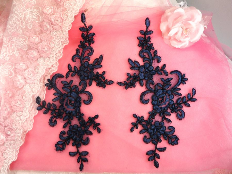 Embroidered Venice Lace Appliques Navy Blue Floral Venice Lace Mirror Pair 9.5 (DH108X)