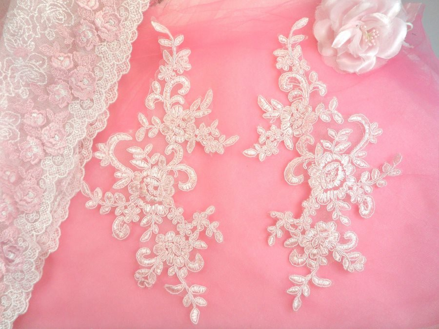 Embroidered Venice Lace Appliques Pink Floral Venice Lace Mirror Pair 9.5 (DH108X)