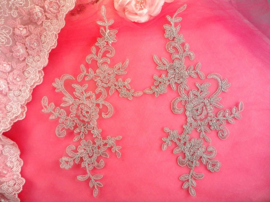 Embroidered Venice Lace Appliques Silver Floral Venice Lace Mirror Pair 9.5 (DH108X)
