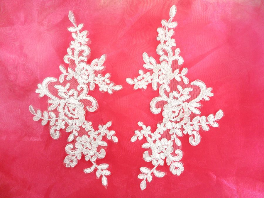 Embroidered Venice Lace Appliques Pure White Floral Venice Lace Mirror Pair 9.5 (DH108X)