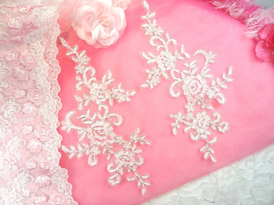 Embroidered Venice Lace Appliques White Silver Floral Venice Lace Mirror Pair 9.5 (DH108X)