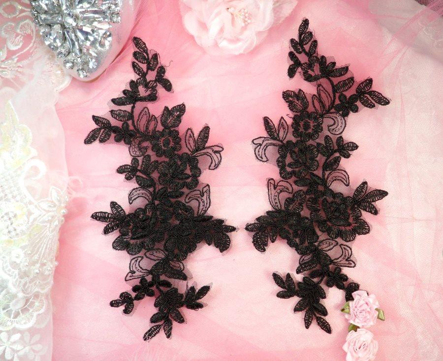 Embroidered Venice Lace Appliques Black Floral Venice Lace Mirror Pair 10 (DH109X)