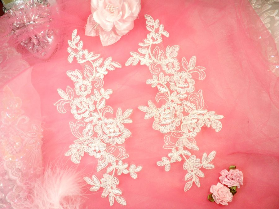 Embroidered Venice Lace Appliques Off White Floral Venice Lace Mirror Pair 10 (DH109X)