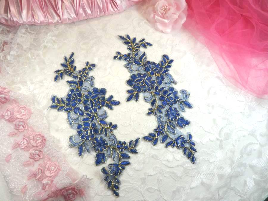 Embroidered Venice Lace Appliques Blue Gold Floral Venice Lace Mirror Pair 10 (DH109X)