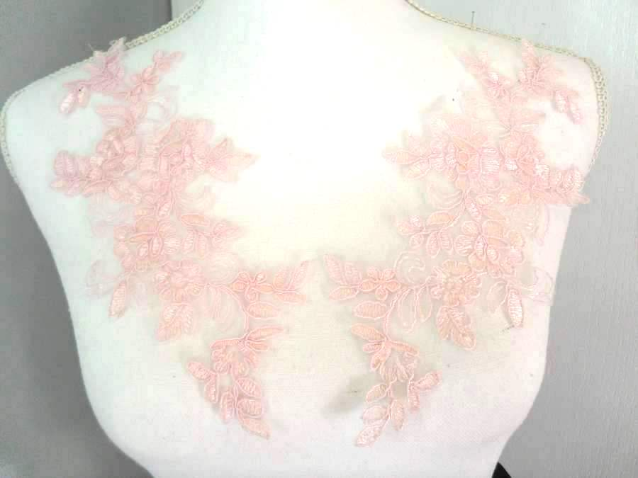Embroidered Venice Lace Appliques Pink Floral Venice Lace Mirror Pair 10 (DH109X)