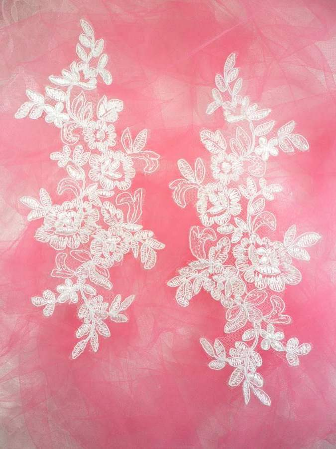Embroidered Venice Lace Appliques White Floral Venice Lace Mirror Pair 10 (DH109X)