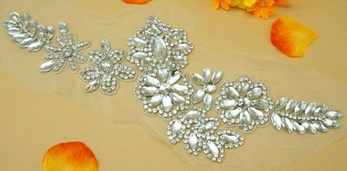 DH11 Crystal Rhinestone Applique Silver Beaded Floral On Mesh Backing 14""
