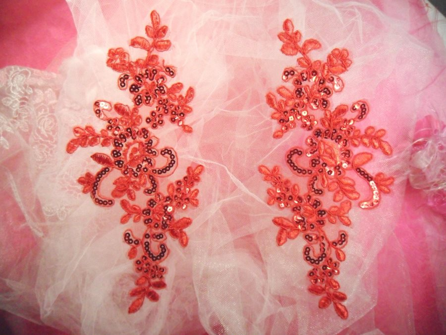 Embroidered Venice Lace Sequin Appliques Red Floral Venice Lace Mirror Pair 9.5 (DH110X)
