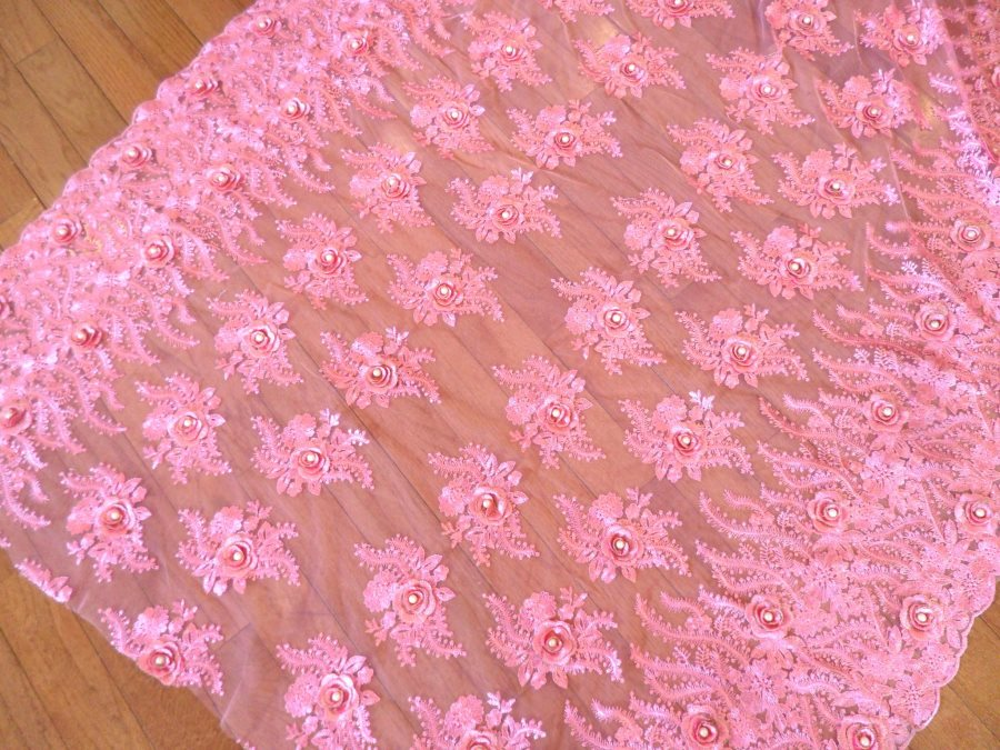 Embroidered 3D Fabric Pink Floral Design (Can be Cut for Appliques) (GB531)