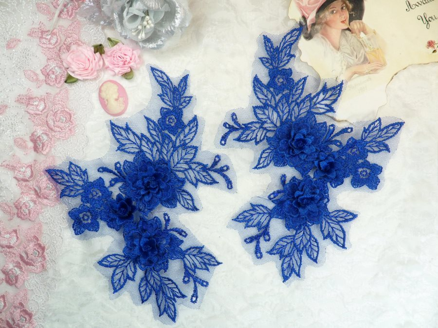 Beautiful NEW ARRIVAL 3D Embroidered Lace Appliques Blue Floral Venice Lace Mirror Pair 7.5 (DH114X)