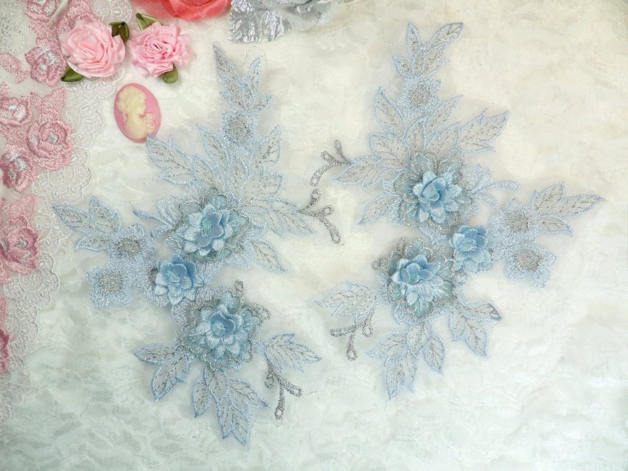 Beautiful NEW ARRIVAL 3D Embroidered Lace Appliques Pastel Blue Silver Floral Venice Lace Mirror Pair 7.5 BL133x