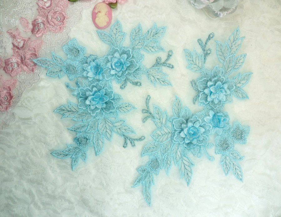 Beautiful NEW ARRIVAL 3D Embroidered Lace Appliques Light Turquoise Blue Floral Venice Lace Mirror Pair 7.5 (DH114X)