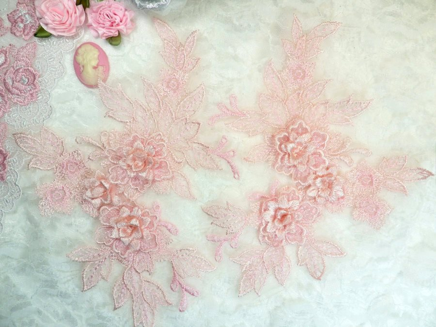 Beautiful 3D Embroidered Lace Appliques Pink Floral Venice Lace Mirror Pair 7.5 BL133X