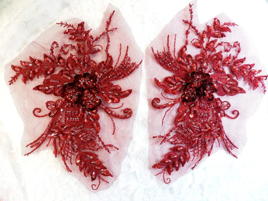 Embroidered Lace Applique Mirror Pair Floral design accented w/ Sequins and Beads Burgundy 8 (DH117X)
