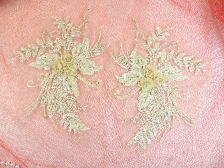 Embroidered Lace Applique Mirror Pair Floral design accented w/ Sequins and Beads Champagne 8 (DH117X)