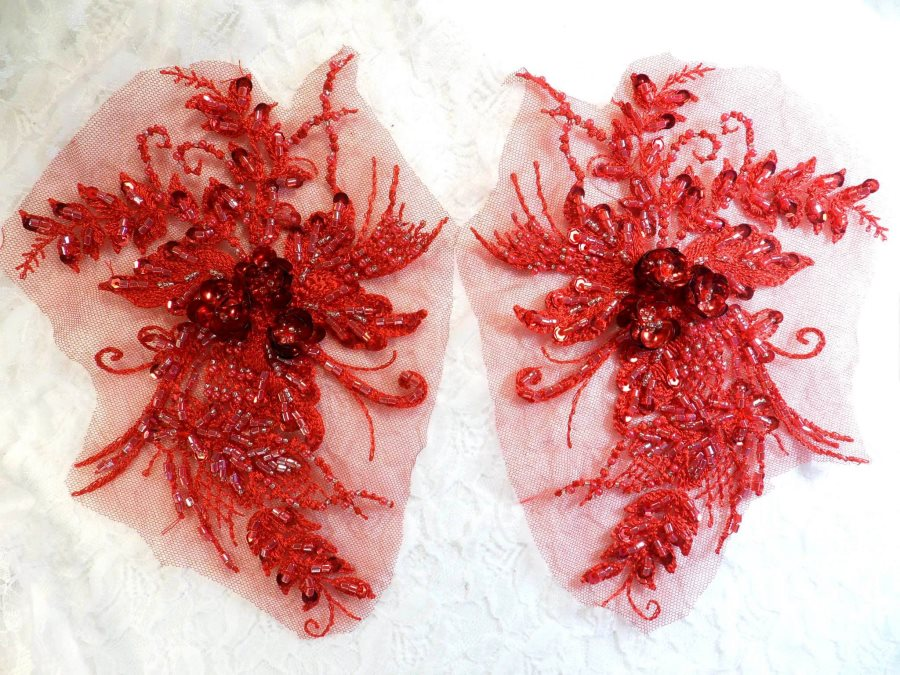 Embroidered Lace Applique Mirror Pair Floral design accented w/ Sequins and Beads Red 8 (DH117X)