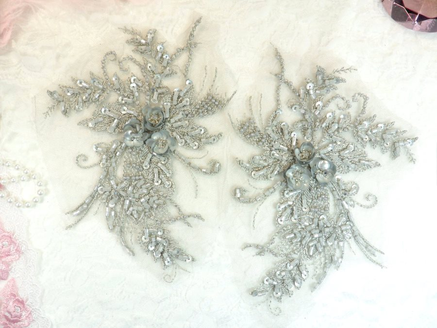 Embroidered Lace Applique Mirror Pair Floral design accented w/ Sequins and Beads Silver 8 (DH117X)