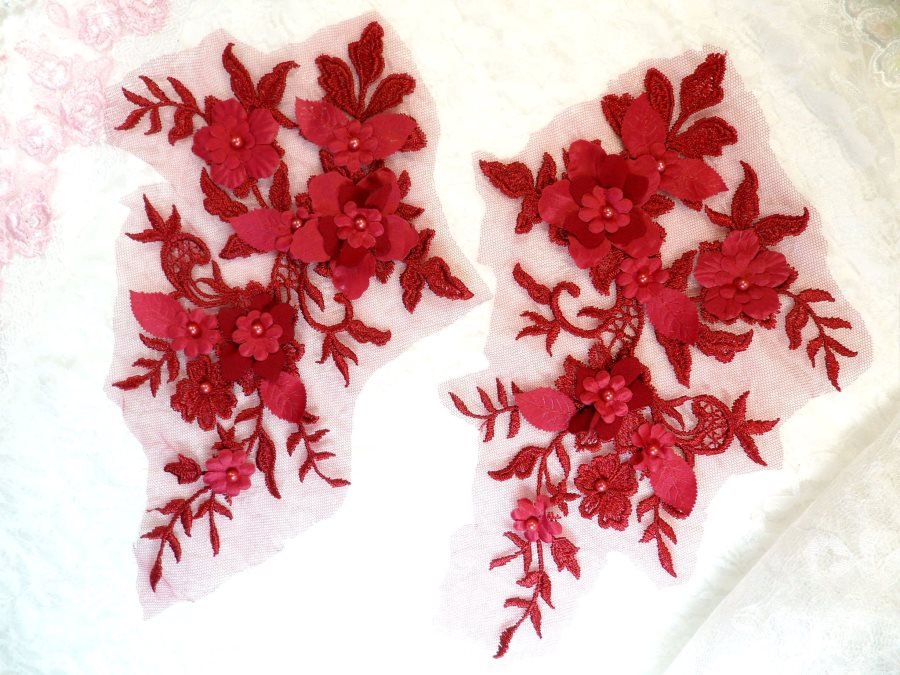 Embroidered Applique Burgundy Floral Venice Lace Mirror Pair 10.5 (DH118X)