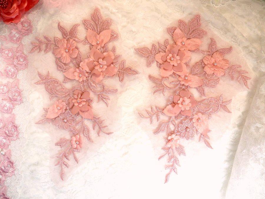 Embroidered Applique Mauve Floral Venice Lace Mirror Pair 10.5 (DH118X)