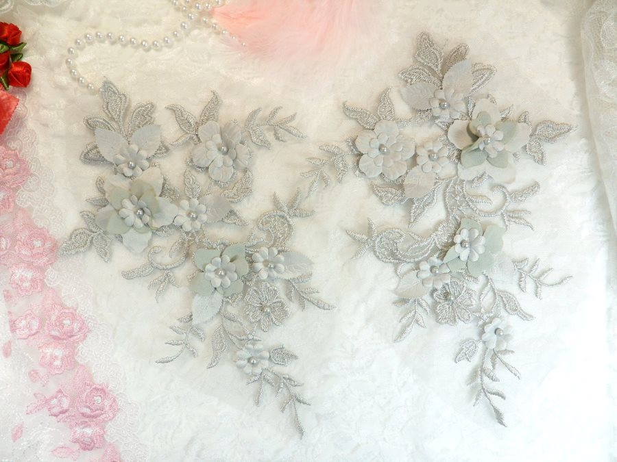 Embroidered Applique Silver Floral Venice Lace Mirror Pair 10.5 (DH118X)