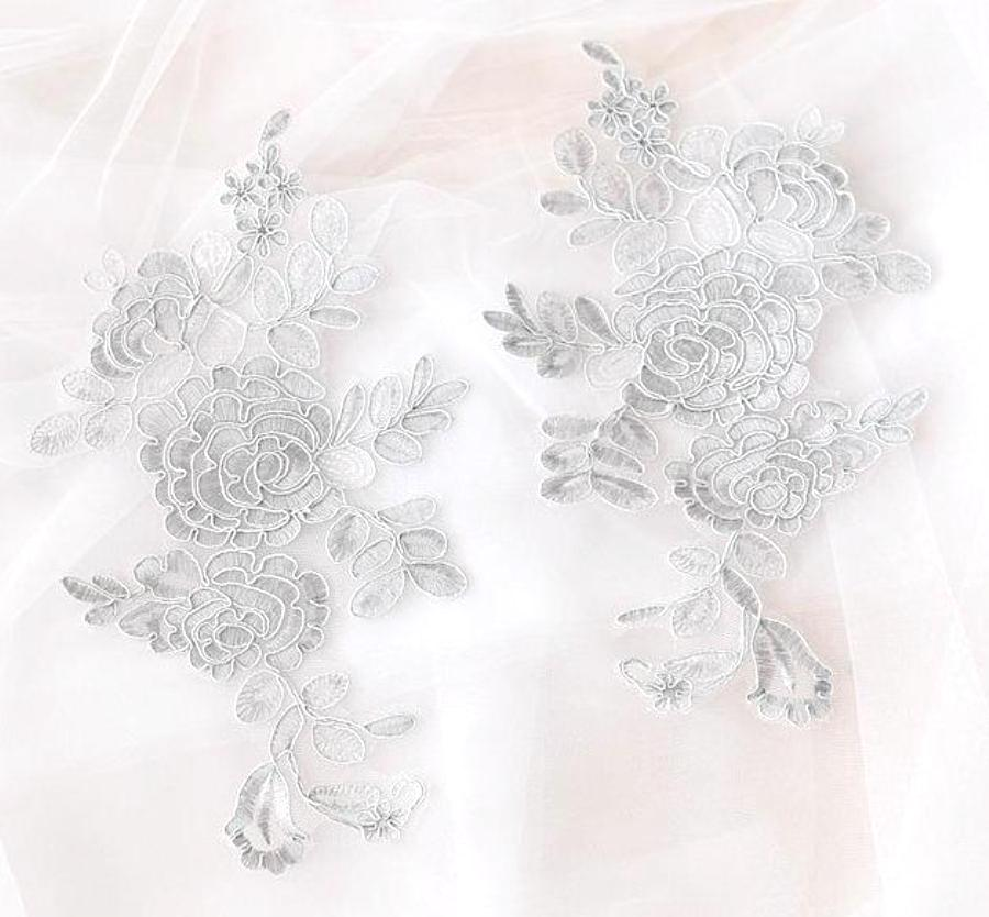 Rose Appliques Lace Embroidered Mirror Pair Light Silver DH124X