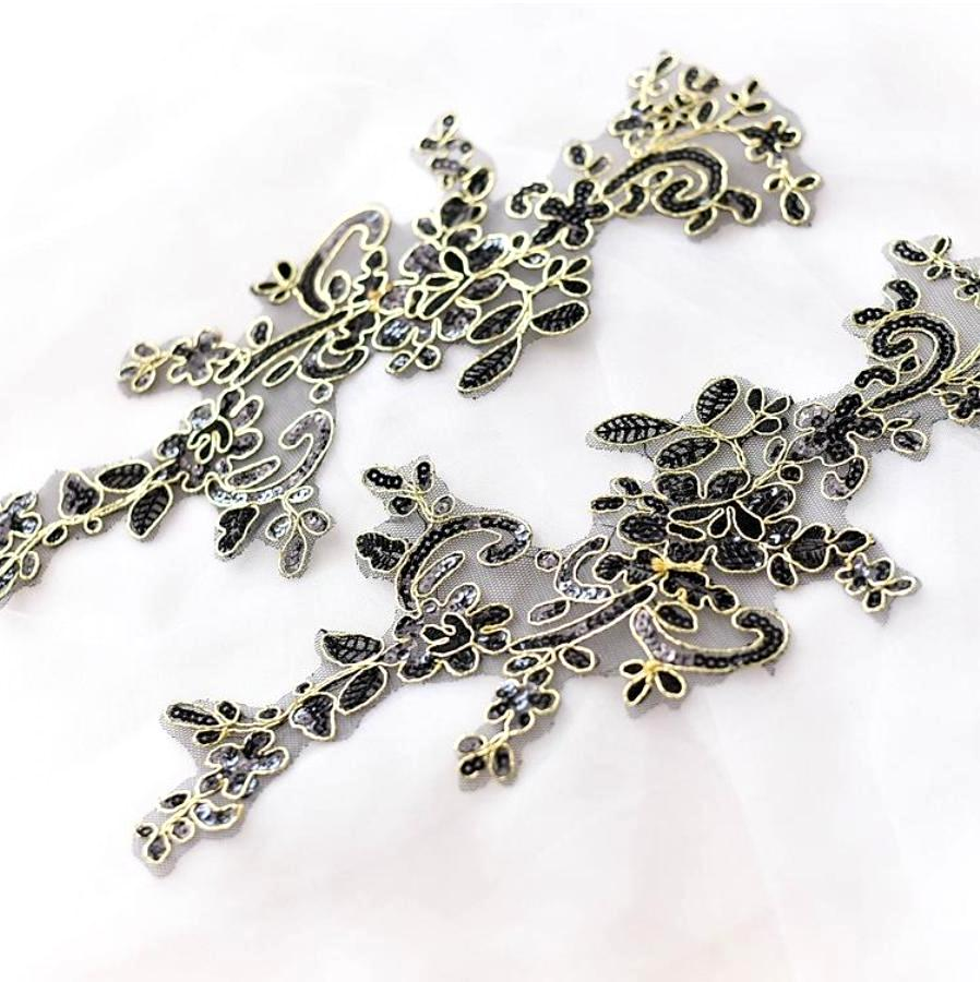 Designer Appliques Lace Embroidered Mirror Pair Black w/ Gold Costume Patch DH126X