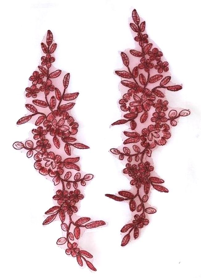 Designer Appliques Lace Embroidered Mirror Pair Burgundy Costume Patch DH128X