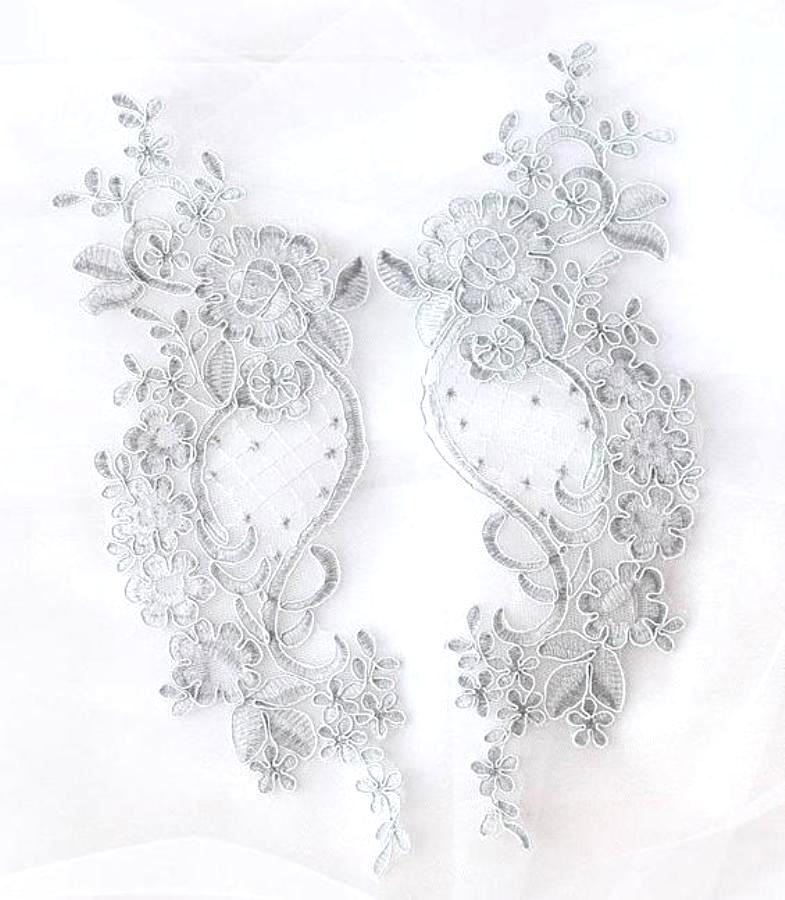 Designer Appliques Lace Embroidered Mirror Pair Lt. Silver Costume Patch DH132X