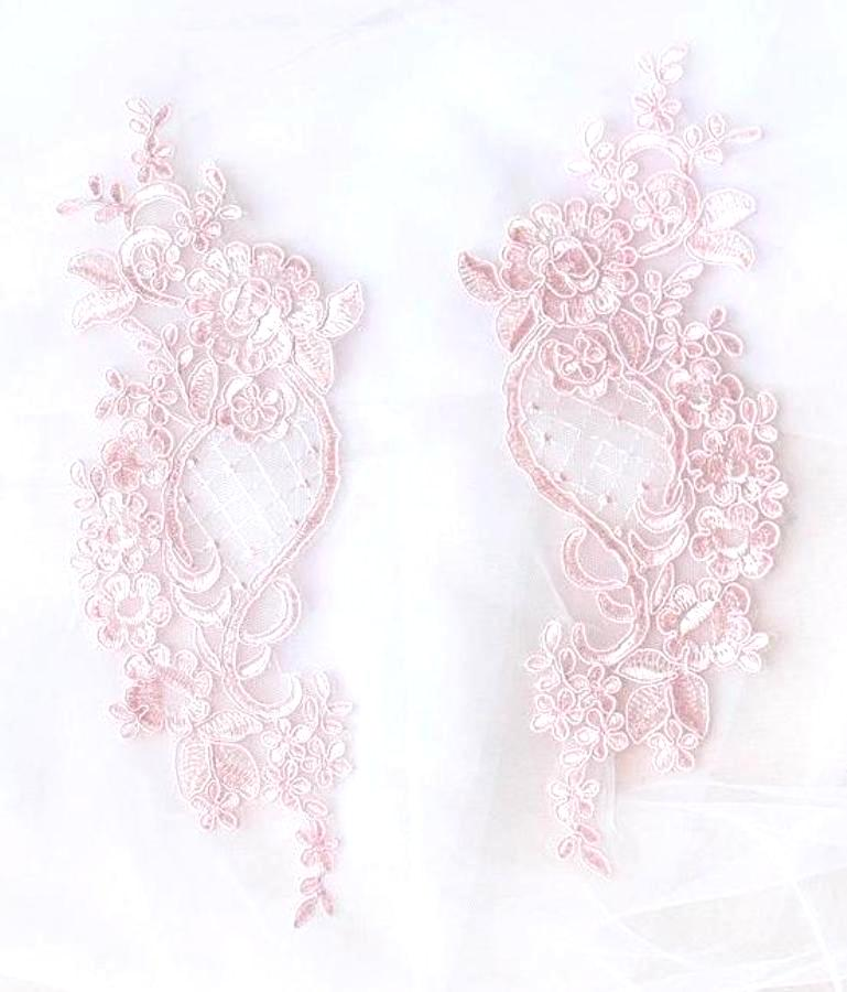 Designer Appliques Lace Embroidered Mirror Pair Pink Costume Patch DH132X
