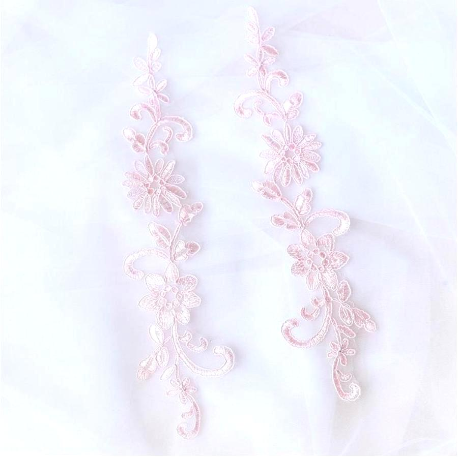 Designer Appliques Lace Embroidered Mirror Pair Pink Costume Patch DH134X